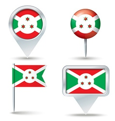 Map pins with flag of Burundi vector image vector image