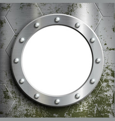 Metal porthole with rivets window on the a vector