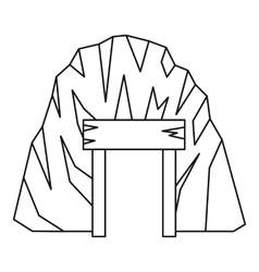 Mine in mountain icon outline style vector