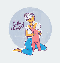 mother and child hand drawn color vector image