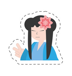 Portrait asian woman wearing dress and sakura vector