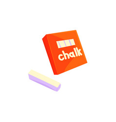 red chalk box sticks of white chalk cartoon vector image