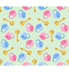 Seamless pattern from padlock key heart shape vector