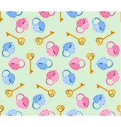 Seamless pattern from padlock key heart shape vector
