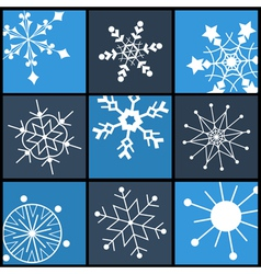 Snowflake Flat Icons for Web and Mobile vector image