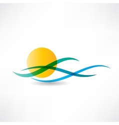 sun sea abstractly icon vector image