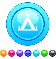 Tent circle button vector image vector image