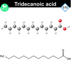 Tridecanoic acid molecule chemical structure vector