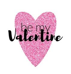 Typographic valentine label with pink glitter vector