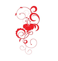 vector red flower with florishes vector image vector image