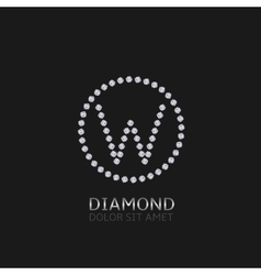 W letter with diamonds vector