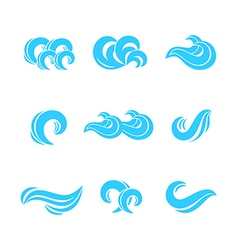 Wave icons set vector image vector image