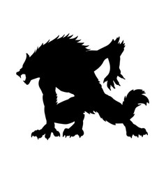 werewolf silhouette ancient mythology fantasy vector image