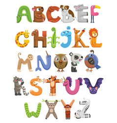 zoo alphabet animal alphabet letters from a to z vector image