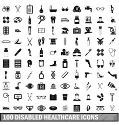 100 disabled healthcare icons set simple style vector image