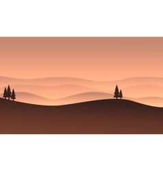 Silhouette of brown hills flat vector