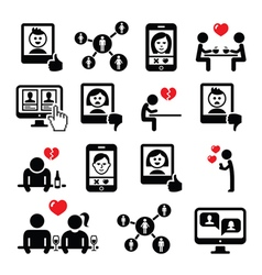 Online dating apps couples on date icons vector image