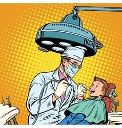 Dentist treats teeth boy vector