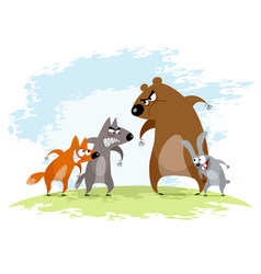 Four animals conflict vector