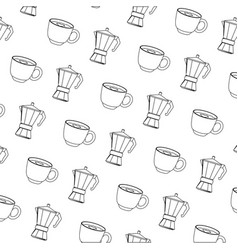 Coffee cup and kettle background vector