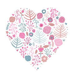 Heart shape floral pink vector