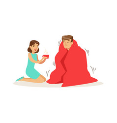 Woman helping a frozen man wrapped in red a vector
