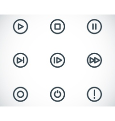 Black media buttons icons set vector