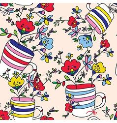 Floral seamless pattern with flowers vase cup for vector