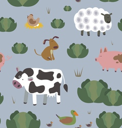Rural animals seamless print vector