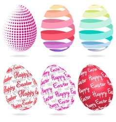 3D Easter eggs set vector image