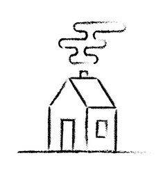 Black crayon house sketch vector