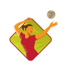 Volleyball player spike ball retro vector