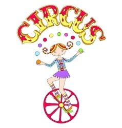 Teenage girl juggler on unicycle with inscription vector