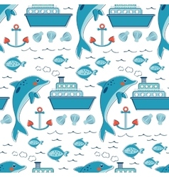 Colorful seamless sea pattern with dolphins vector