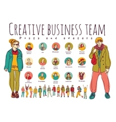Creative business team posts and avatars icons vector