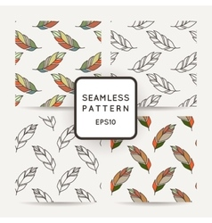 Set of seamless pattern of feathers doodle vector