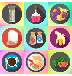 Restaurant food ingredients fruits icons vector