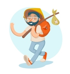 Cartoon hipster geek traveler businessman vacation vector