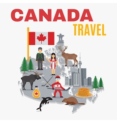 Decorative Map Canada Poster vector image