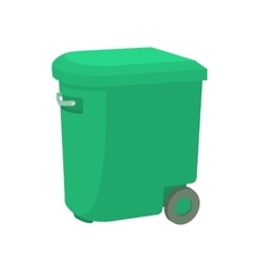 Green garbage container icon cartoon style vector