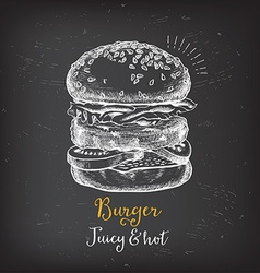 Burger menu restaurant badges fast food design vector