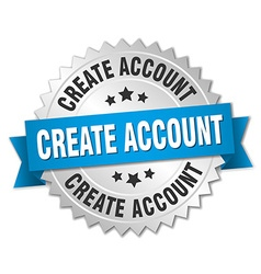Create account 3d silver badge with blue ribbon vector