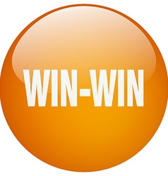 Win-win orange round gel isolated push button vector