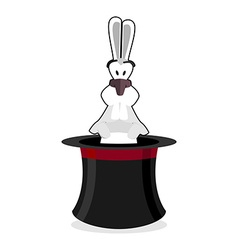 Rabbit in hat accessory magician white rabbit in vector
