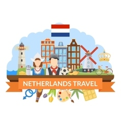 Netherlands travel flat composition vector