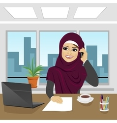 Business arab woman with laptop at office vector