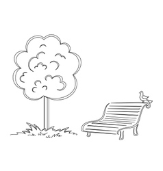Bird park bench tree contours vector image vector image
