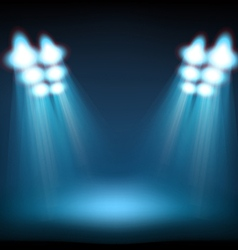 Bright stage with spot lights Template for a vector image