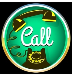 Call button retro phone vector image vector image
