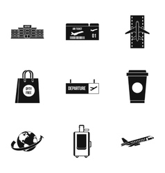 Check at airport icons set simple style vector